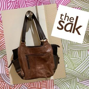The Sak brown tan glitter leather handbag sparkle
